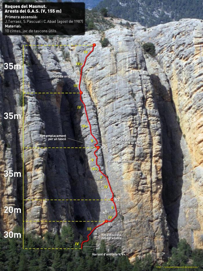 Ressenya de la via Aresta del G.A.S. a les roques del Masmut
