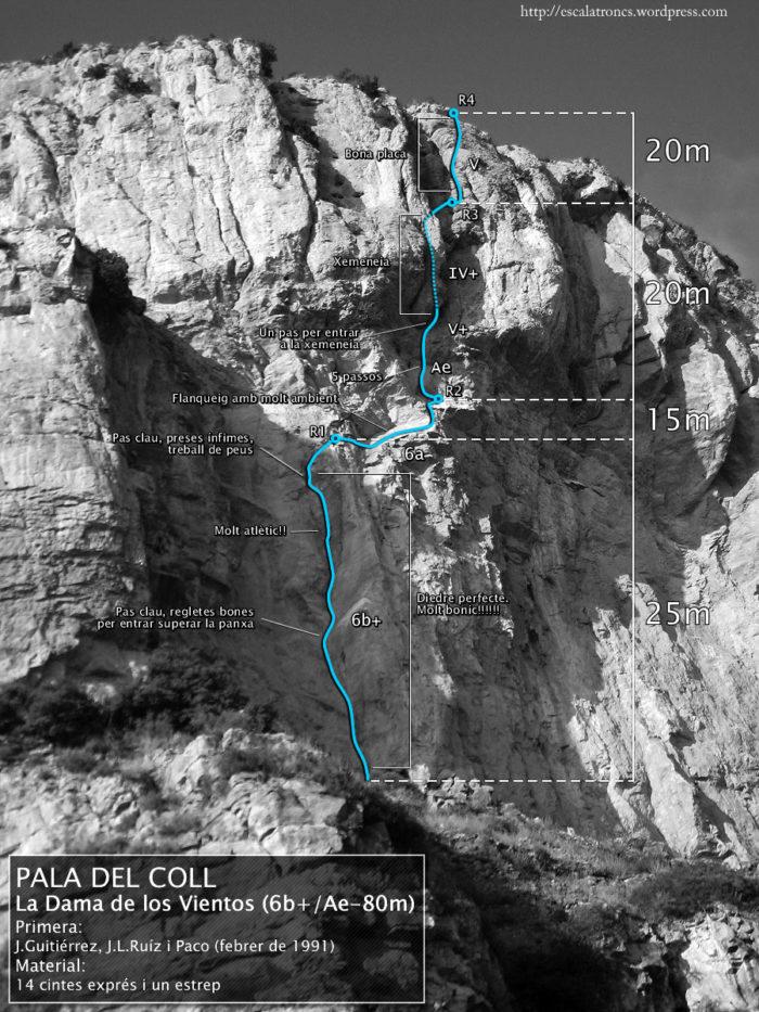 Ressenya de la via La Dama de los Vientos a la Pala del Coll (Montroig)