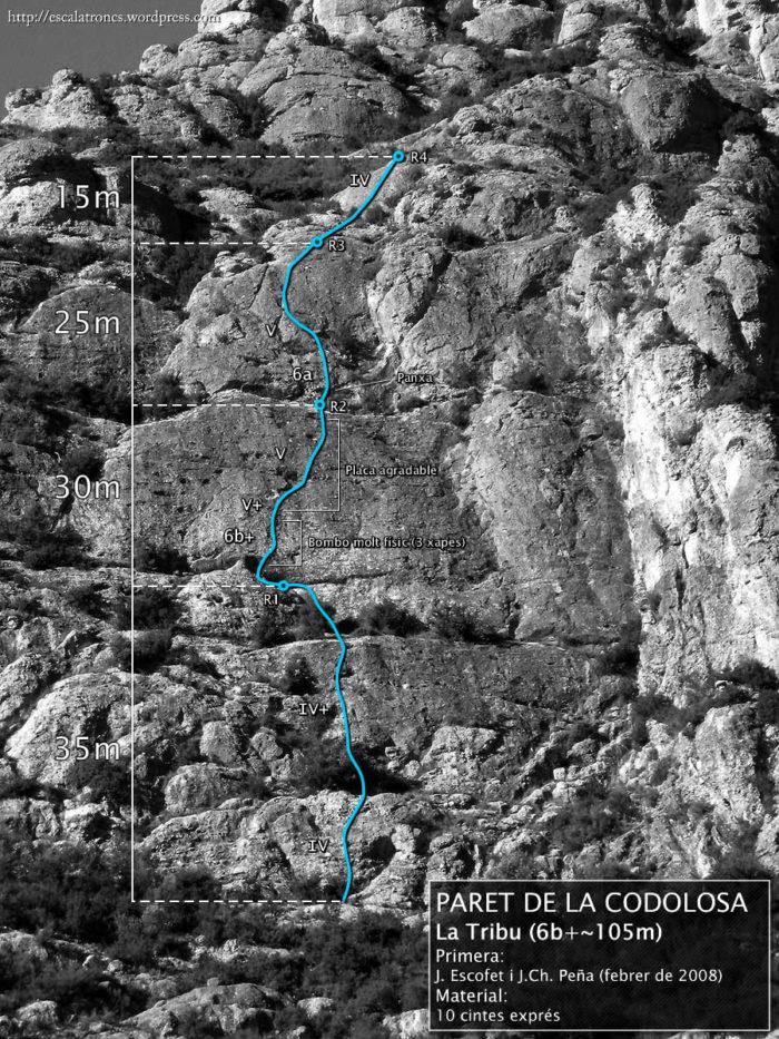 Ressenya de la via La Tribu a la Paret de la Codolosa (Montserrat)