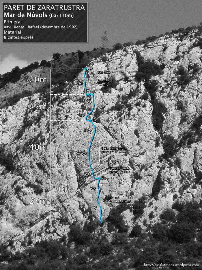Ressenya de la via Mar de Núvols a la Paret de Zaratrustra a Vilanova de Meià