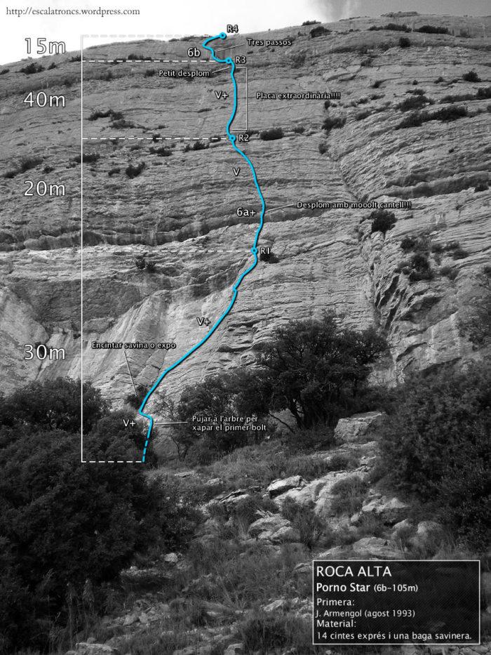 Ressenya de la via Pornostar, a la Roca Alta (Vilanova de Meià)