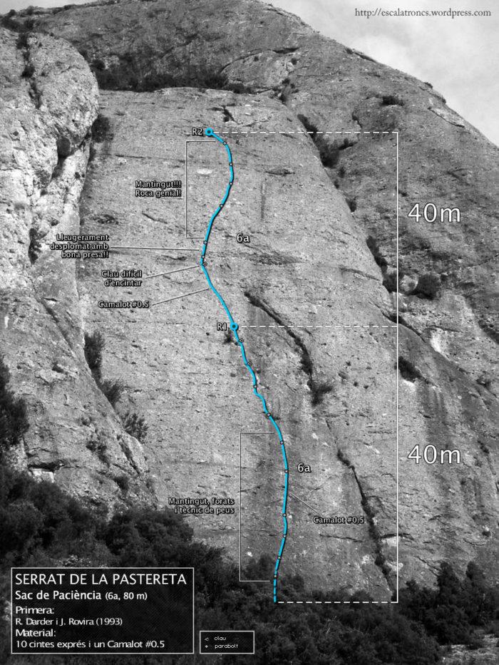 Ressenya de la via Sac de Paciència a la Pastereta (Montserrat)