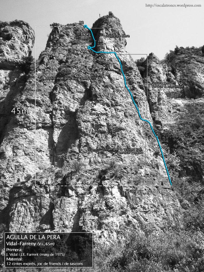 Ressenya de la via Vidal-Farreny a l'Agulla de la Pera (Camarasa)
