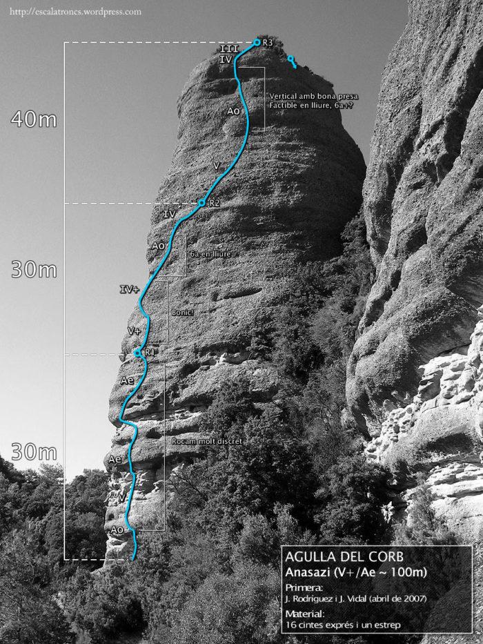 Ressenya de la via Anasazi a l'Agulla del Corb (Sant Honorat)