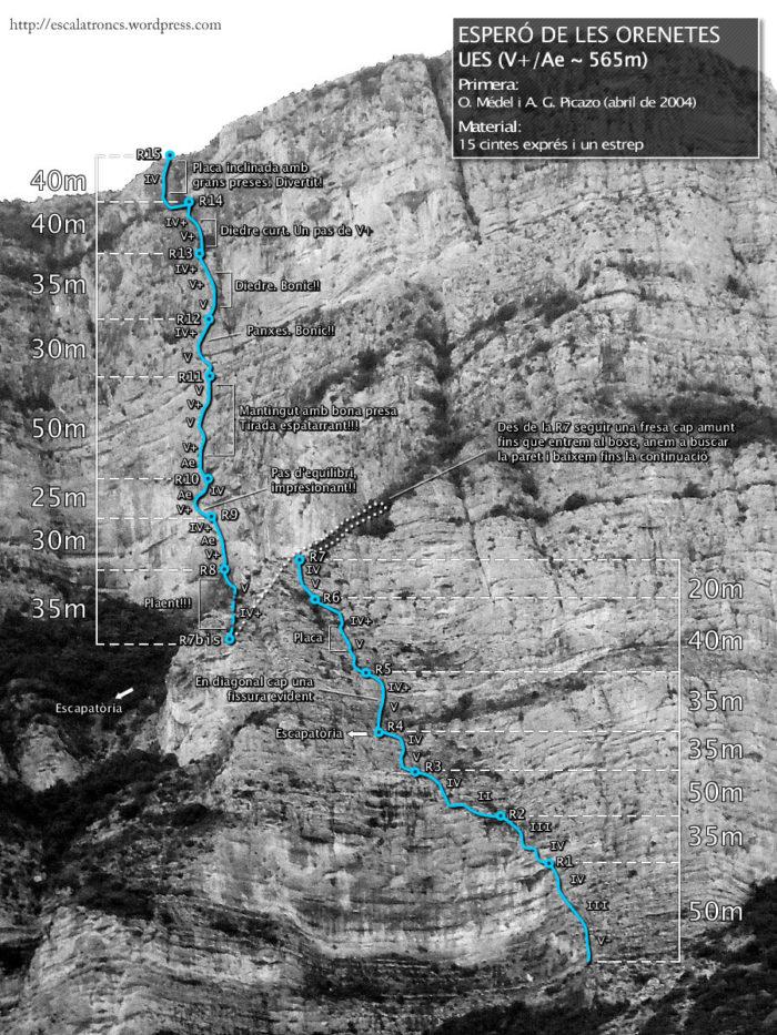 Ressenya de la via UES a l'esperó de les Orenetes (espluvins)