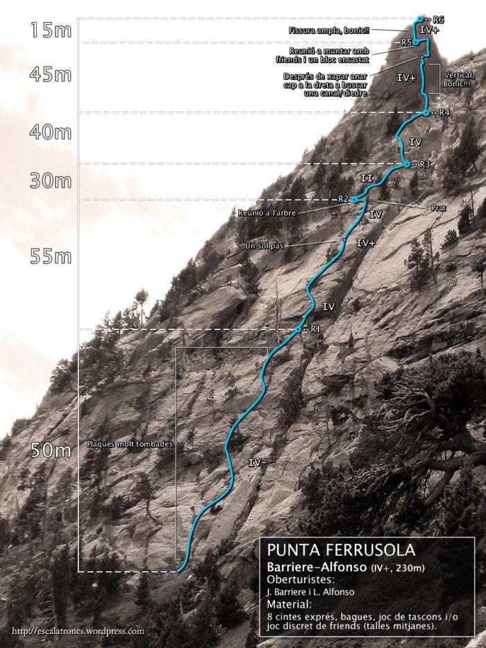 Ressenya de la via Barriere-Alfonso a la Punta Ferrusola (Cavallers)