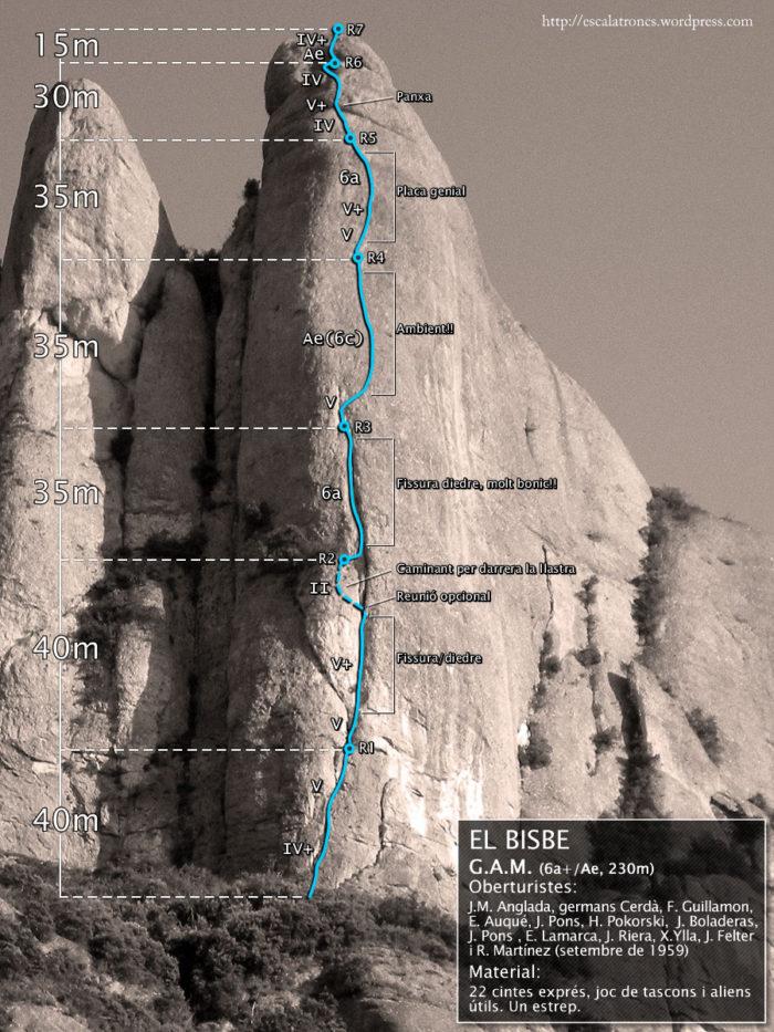 Ressenya de la via GAM al Bisbe (Montserrat - Frares)