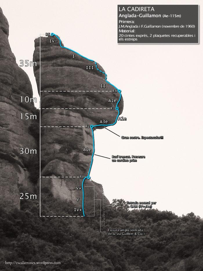 Ressenya de la via Anglada-Guillamon a La Cadireta d'Agulles