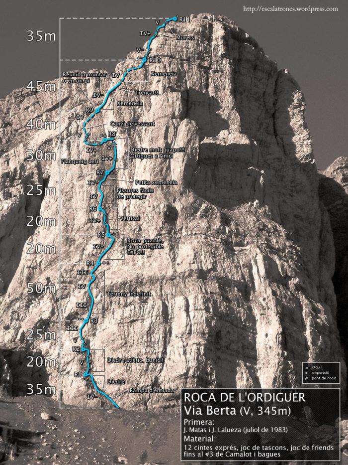 Ressenya de la via Berta a la Roca de l'Ordiguer, Cadí