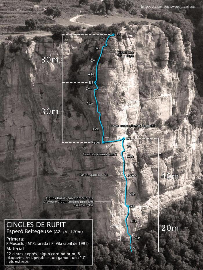 Ressenya de la via Esperó Beltegeuse als Cingles de Rupit