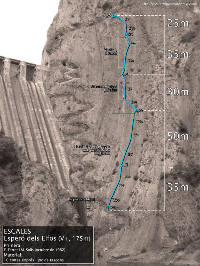 Ressenya de la via L'Esperó dels Elfos a la Paret d'Escales