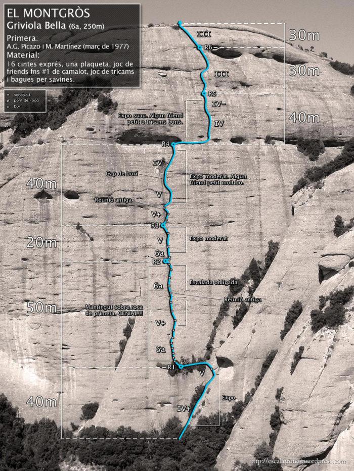 Ressenya de la via Griviola Bella al Montgròs (Montserrat/Ecos)