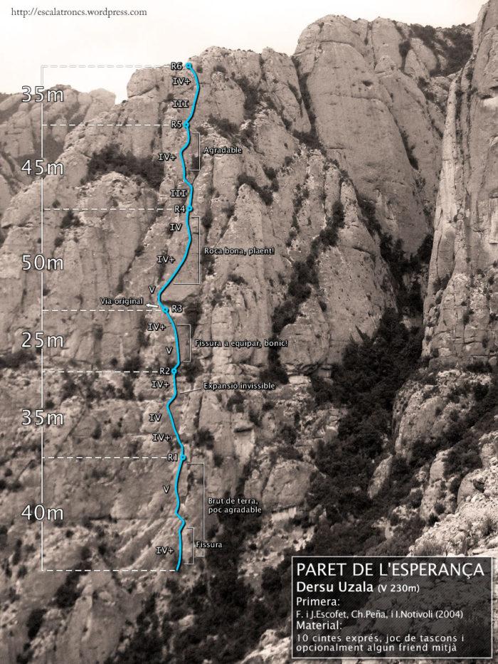 Ressenya de la via Dersu Uzala a la Paret de l'Esperança