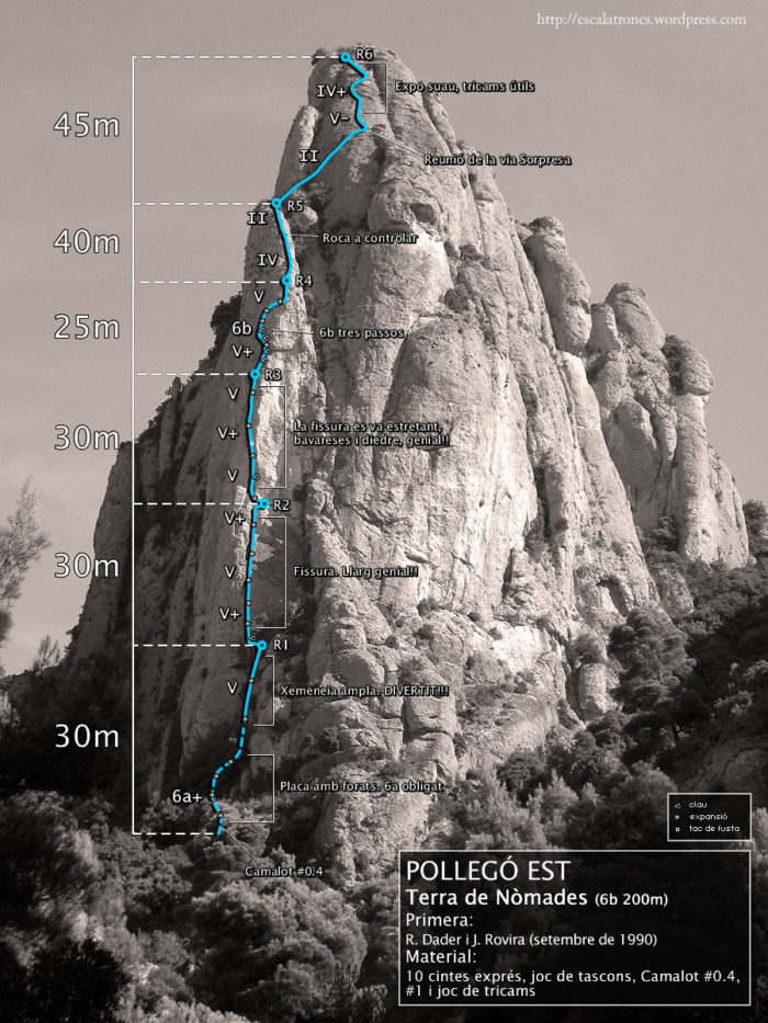 Ressenya de la via Terra de Nòmades al Pollegó Est (Vinya Nova)