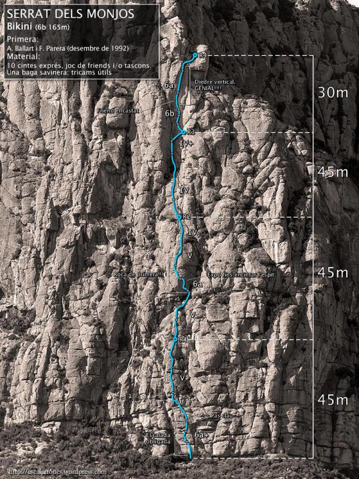 Ressenya de la via Bikini al Serrat dels Monjos (Montserrat)