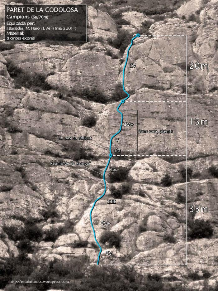 Ressenya de la via Campions a la Paret de la Codolosa