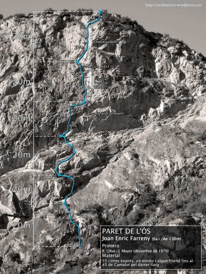 Ressenya de la via Joan Enric Farreny a la Paret de l'Ós