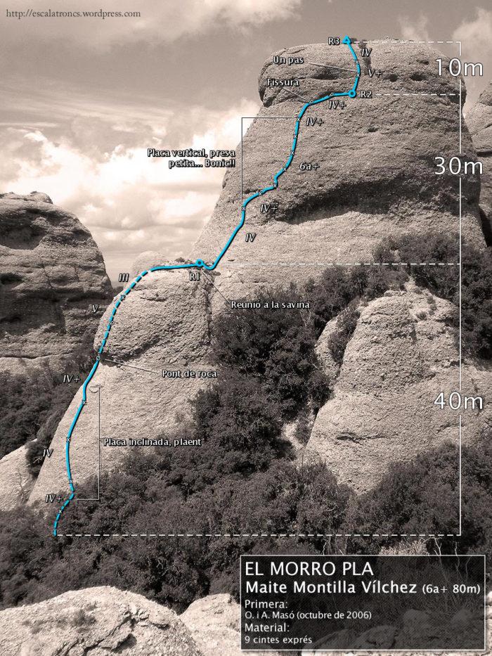 Ressenya de la via Maite Montilla Vílchez al Morro Pla, Frares Encantats (Montserrat)