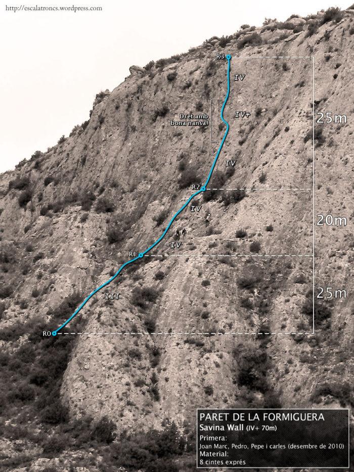 Ressenya de la via Savina Wall a la Paret de la Formiguera