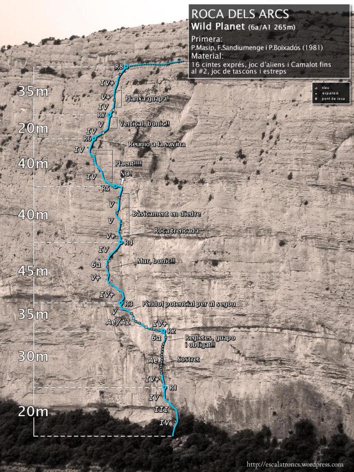 Ressenya de la via Wild Planet a la Roca dels Arcs (Vilanova de Meià)