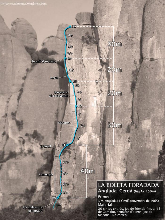 Ressenya de la via Anglada-Cerdà a la Boleta Foradada (Frares Encantats - Montserrat)