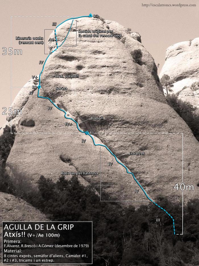 Ressenya de la via Atxís!! a l'Agulla de la Grip, Frares Encantats (Montserrat)