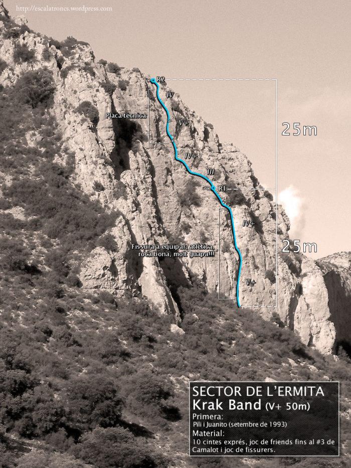 Ressenya de la via Krak Band al Sector de l'Ermita