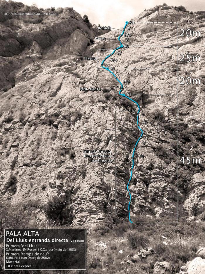 Ressenya de la via del Lluís entrant per la Temps de Neu a la Pala Alta