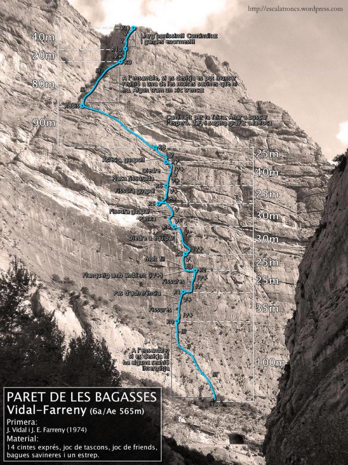 Ressenya de la via Vidal-Farreny a la Paret de les Bagasses (Terradets)