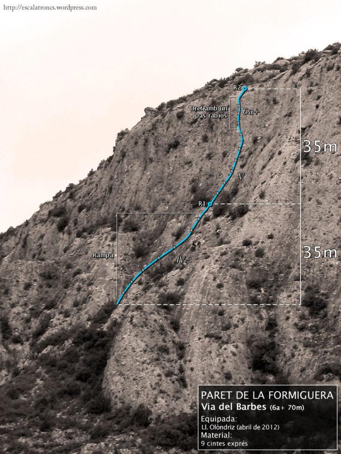Ressenya de la via del Barbes a la Paret de la Formiguera (Sant Llorenç de Montgai)
