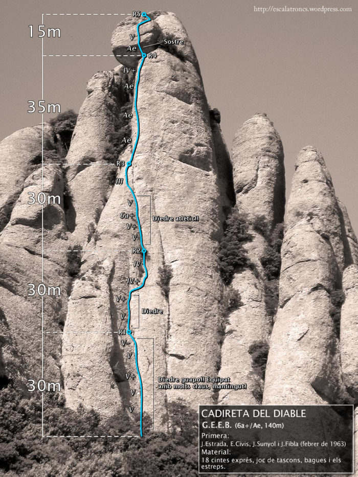Ressenya de la via GEEB a la Cadireta del Diable (Flautats - Montserrat)