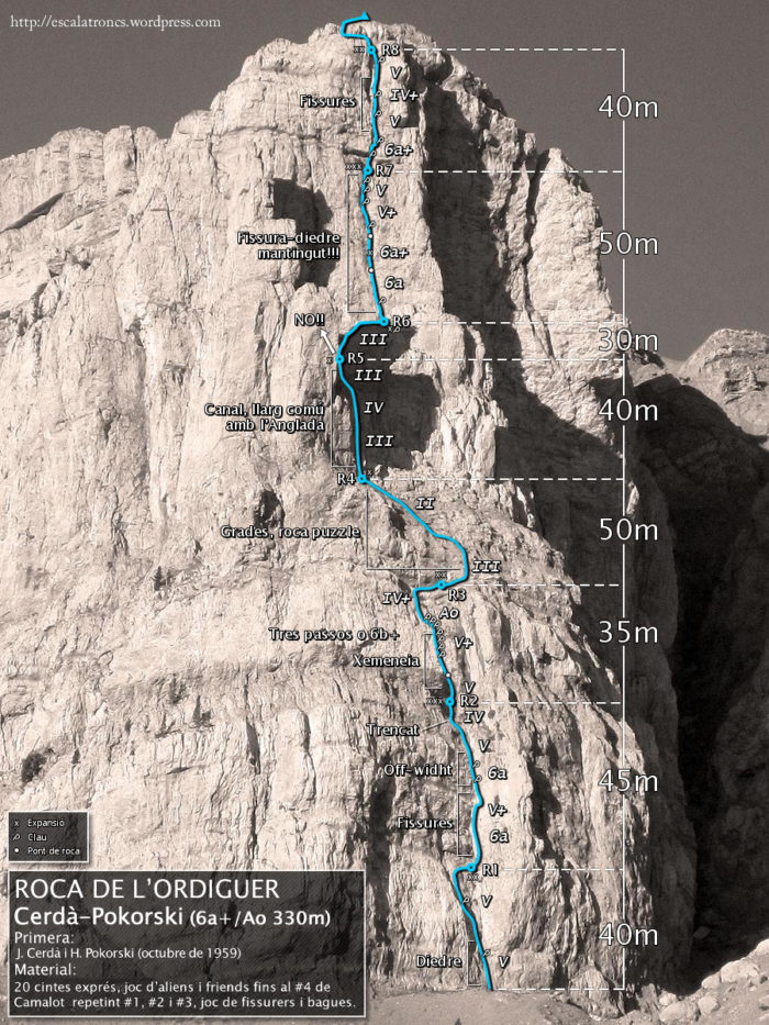 Ressenya de la via Cerdà-Pokorski a la Roca de l'Ordiguer (Cadí)