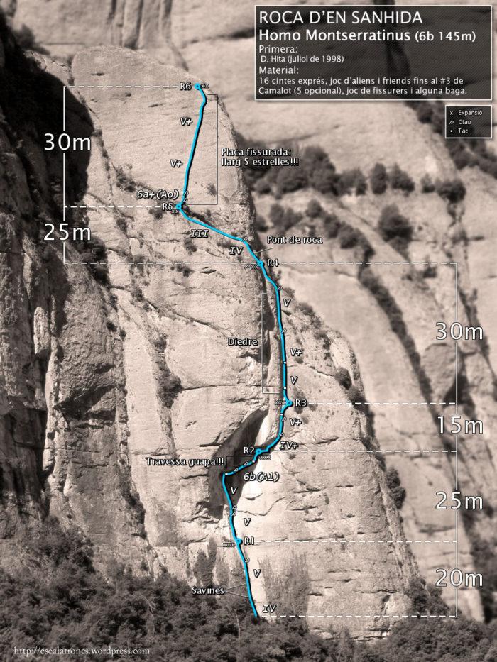 Ressenya de la via Homo Montserratinus a la Roca d'en Sanhida (Montserrat-Ecos)