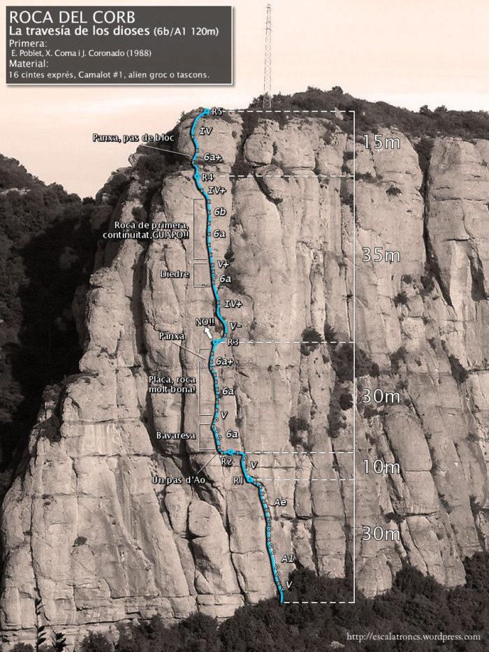 Ressenya de la via Travesía de los Dioses a la Roca del Corb (Montserrat-Mullapans)