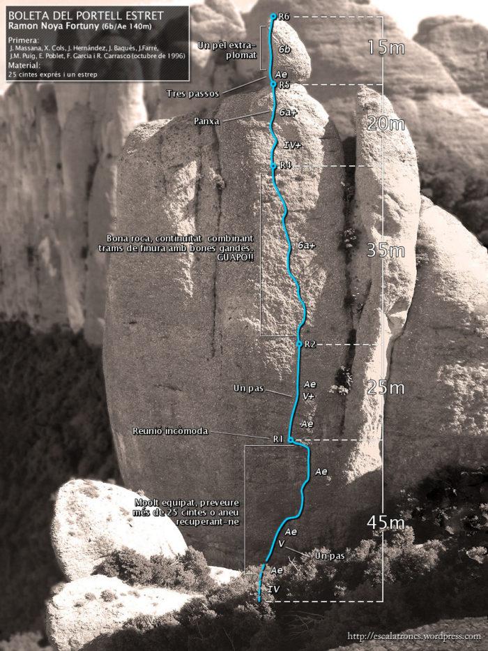 Ressenya de la via Ramon Noya Fortuny a la Boleta del Portell Estret (Frares Encantats - Montserrat)