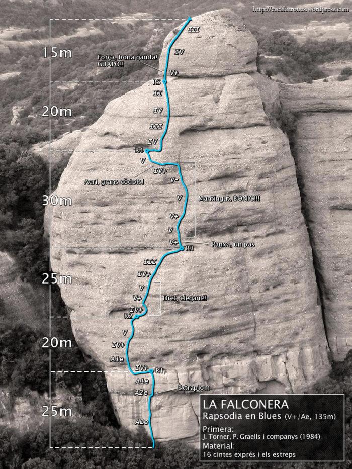 Ressenya de la via Rapsòdia en Blues a la Falconera, Sant Llorenç del Munt