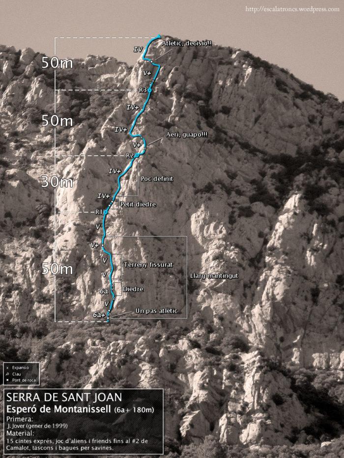 Ressenya de la via Esperó de Montanissell a la Serra de Sant Joan