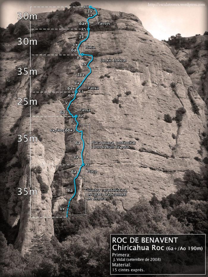 Ressenya de la via Chiricahua Roc al Roc de Benavent (Serra de Comiols)