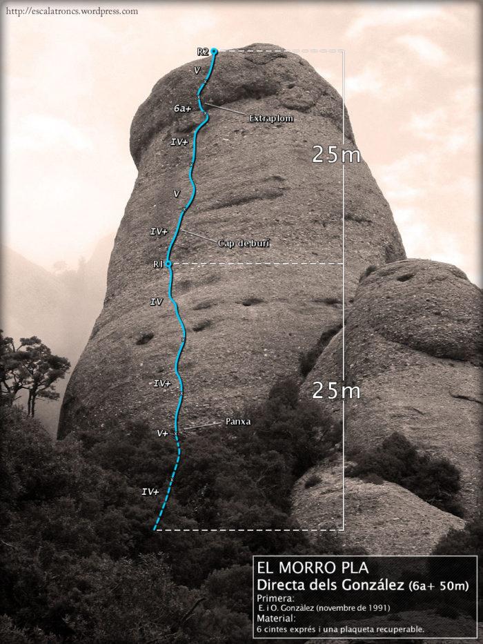 Ressenya de la via Directa dels González al Morro Pla (Frares Encantats - Montserrat)