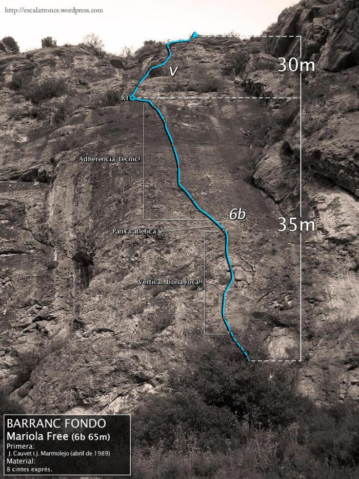 Ressenya de la via Mariola Free al Barranc Fondo (Sant Llorenç de Montgai)