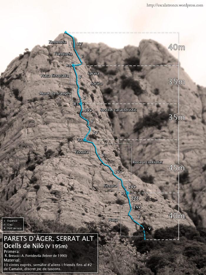 Ressenya de la via Ocells de Niló al Serrat Alt (Àger)