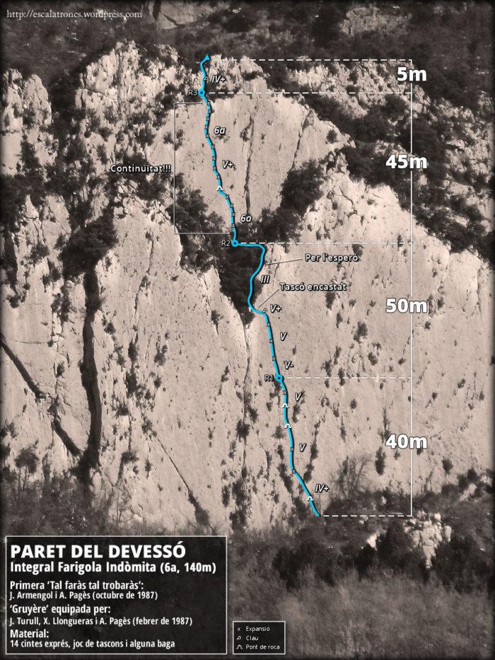 Ressenya de la via Integral Farigola Indòmita a la Paret del Devessó (Malanyeu)