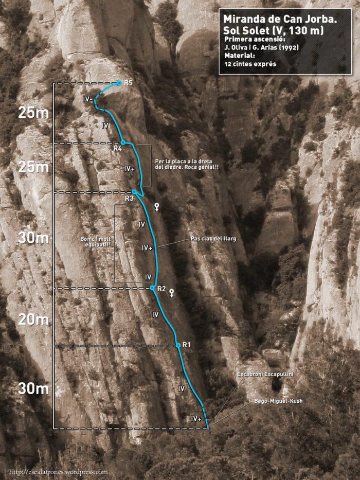 Ressenya de la via Sol Solet a la Miranda de Can Jorba (Montserrat)