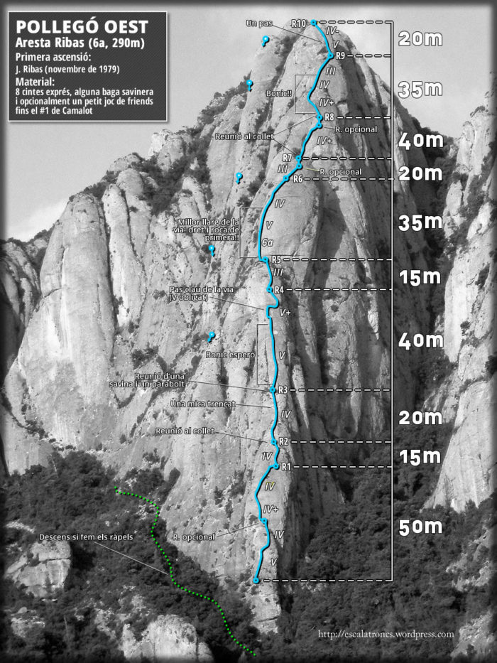 Ressenya de la via Aresta Ribas, al Pollegó Oest (Montserrat)