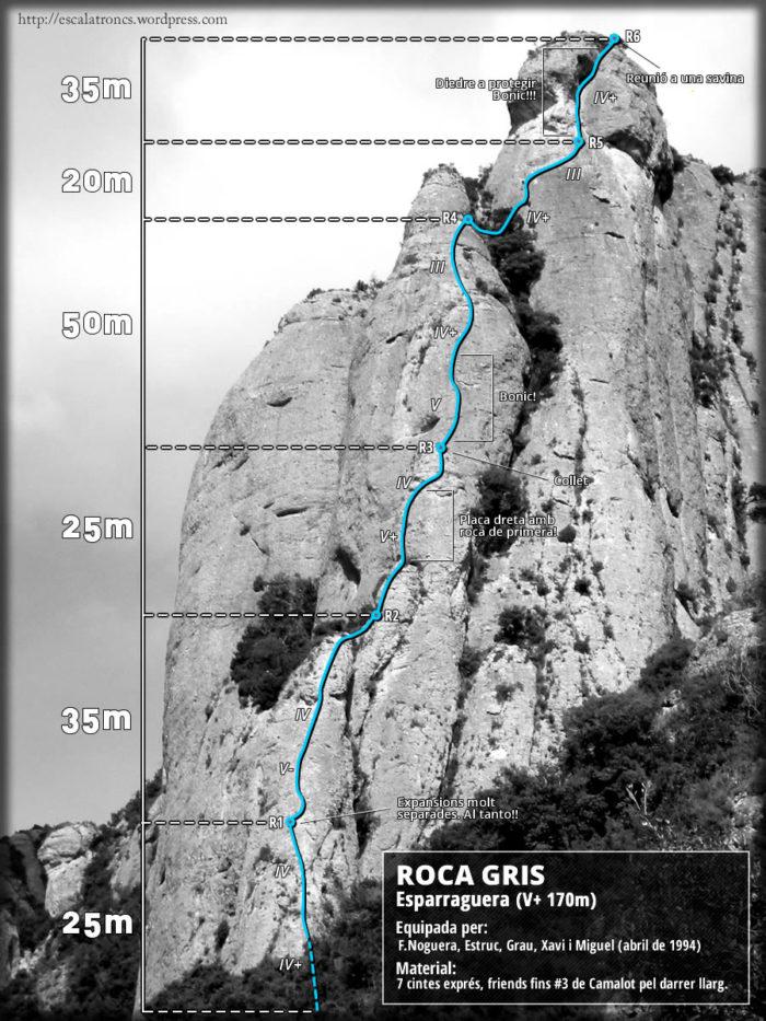 Ressenya de la via Esparraguera a la Roca Gris - Montserrat