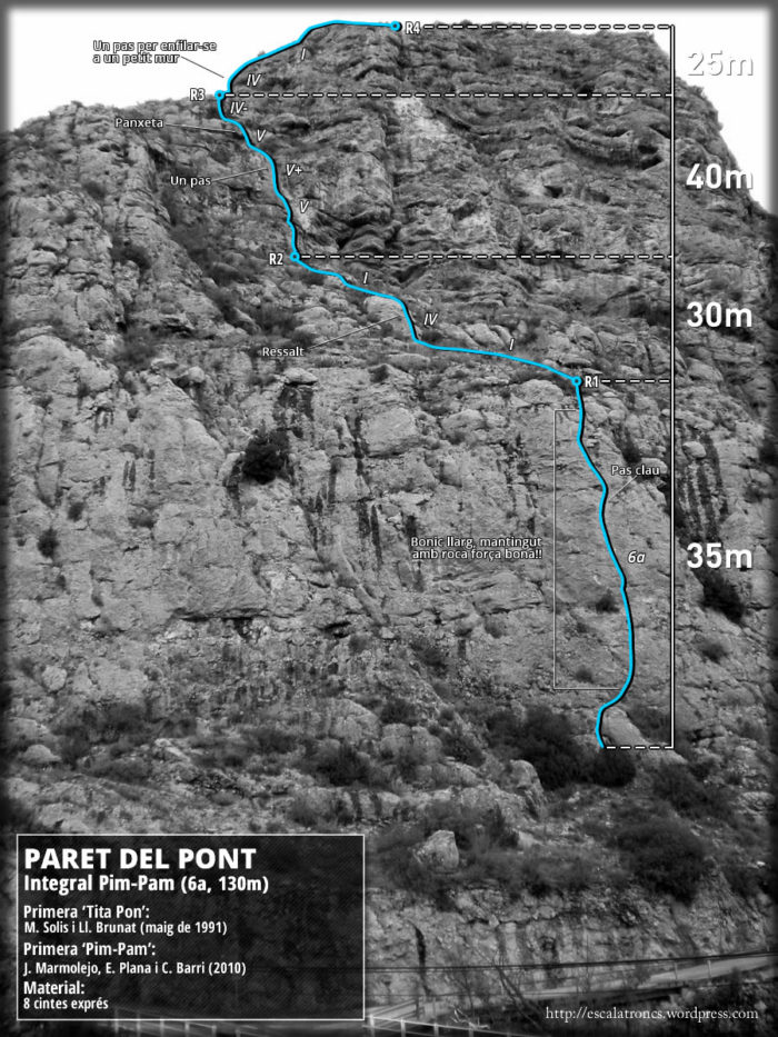 Ressenya de la via Integral Pim-Pam a la Paret del Pont de Sant Llorenç de Montgai