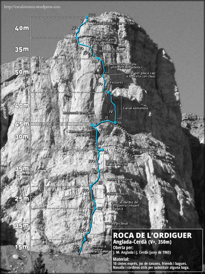 Ressenya de la via Anglada-Cerdà a la Roca de l'Ordiguer