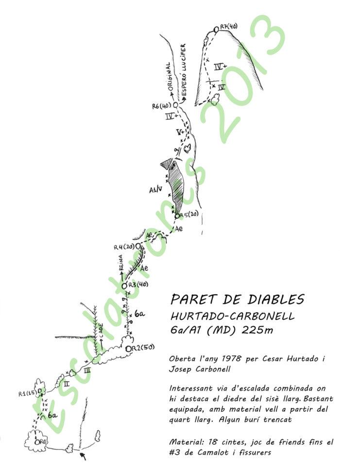 Topo de la via Hurtado-Carbonell a la Paret de Diables