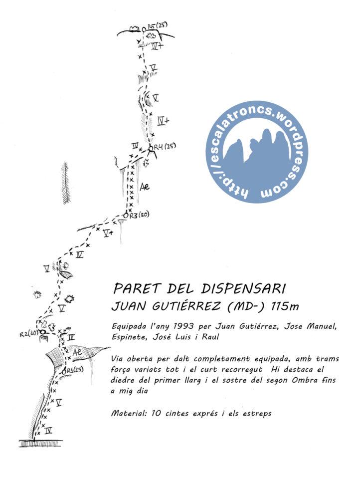 Ressenya de la via Juan Gutiérrez a la Paret del Dispensari (Camarasa)