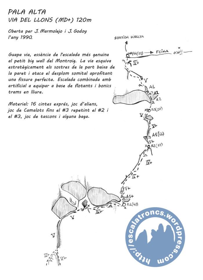 Ressenya de la via del Llons a la Pala Alta (Montroig)
